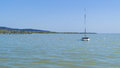 Sailing yacht at Balaton lake Royalty Free Stock Photo