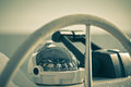 Sailing yacht control wheel and implement horizontal shot witho without people filtered Stock Photography