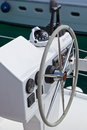 Sailing yacht control wheel and implement vertical shot without people Stock Photos