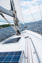 Sailing yacht in the gulf trip on a along coast of Royalty Free Stock Image