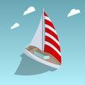 Sailing yacht isometric style vector illustration