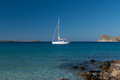 Sailing yacht in Mirabello Bay on Crete Royalty Free Stock Images
