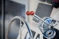 Sailing yacht navigation implement horizontal close up shot with small grip Stock Photos