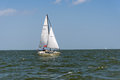 Sailing yacht in the open ocean Royalty Free Stock Photo