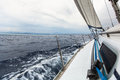 Sailing yacht on the race in a stormy sea. Travel. Royalty Free Stock Photo