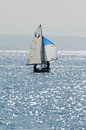 Sailing yacht in red sea toned photo on a seil thi s s category Royalty Free Stock Photo