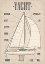 Sailing yacht. Sailboat. Vector drawn flat illustration for yacht club