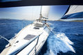 Sailing on Yacht at sunny day Royalty Free Stock Photo