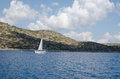 Sailing yacht in the wind Royalty Free Stock Photo