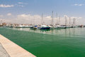 Sailing yachts and boats are in the harbor Palma de Mallorca. Royalty Free Stock Photo