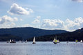Sailing yachts on lipno lake czech republic in Royalty Free Stock Images