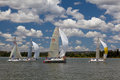 Sailing yachts racing down wind spinnakers raised wind behind Stock Photography