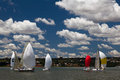 Sailing yachts racing down wind spinnakers raised wind behind Stock Photo