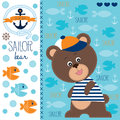 Sailor bear and fish vector illustration