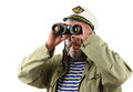 Sailor with binoculars over white Royalty Free Stock Image