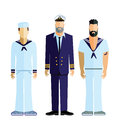 Sailor captain and crew sailboat sailing figures isolated on a white background Stock Photo