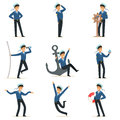 Sailor character doing his job set. Seaman in different situations cartoon vector Illustrations