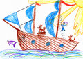 Sailor and a dog traveling on a sailboat - child drawing picture on paper Royalty Free Stock Photo
