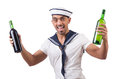 Sailor isolated with wine bottle Royalty Free Stock Photo