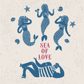Sailor and mermaids in love Royalty Free Stock Photo