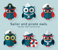 Sailor and pirate owl. Vector set. Royalty Free Stock Photo