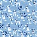 Sailor terrier dog seamless pattern.
