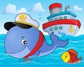 Sailor whale theme image 2 Royalty Free Stock Photo