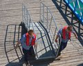 Sailors and passenger ship are gangway Royalty Free Stock Image