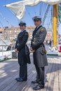 The sailors of tallship ARM Cuauhtémoc with their beautiful uniforms in the harbour of Scheveningen during the Sail Royalty Free Stock Photo
