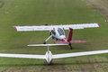 Sailplane and a towing aircraft starting on an airfield Royalty Free Stock Photo
