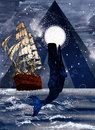 Sails drawing of an old ship and whale at sea at night Stock Photo