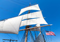 Sails flying on a tall sailing ship Stock Photography