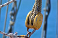 Sails ropes pulley for and made from wood on an old sail boat Royalty Free Stock Image