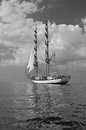 Sailship brig sailing under full sails Royalty Free Stock Photo