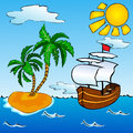 Sailship and tropical island in the ocean near the with palms Royalty Free Stock Photos