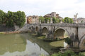 Saint angel bridge in rome the sant angelo over the tiber river with its saints marble sculptures and arches downtown italy Royalty Free Stock Photo