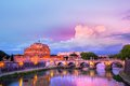 Saint angelo castle sant at dusk in rome italy Stock Photos