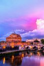 Saint angelo castle sant at dusk in rome italy Royalty Free Stock Photos