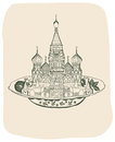 Saint basil cathedral on plate russian Stock Image