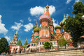 Saint basil cathedral on the red square in moscow russia pokr tourists visiting st s july st s is a famous monument of russian Royalty Free Stock Photography