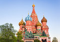 Saint Basil Cathedral on Red square, Moscow at sunset Royalty Free Stock Photo