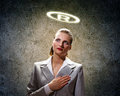 Saint businesswoman image of with halo above head Royalty Free Stock Photo