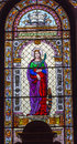 Saint Catherine Stained Glass St Stephens Cathedral Budapest Hungary Royalty Free Stock Photo