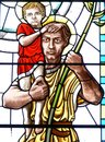 Saint christopher stained glass image of st Royalty Free Stock Photo