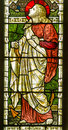 Saint clement stained glass window victorian showing with an anchor the christian martyr was thrown into the sea tied to an anchor Stock Photos