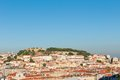 Saint george castle lisbon the of located on top of the tallest of s seven hills of the historic centre of the capital city Royalty Free Stock Photos