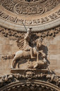 Saint george and the dragon architectural detail at facade of palma de mallorca cathedral spain Stock Image