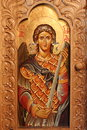 Saint great martyr george sfantul gheorghe icon painted on wood with the image of Royalty Free Stock Photo
