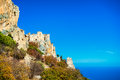 Saint Hilarion Castle on a cliff above the Mediterranean Sea. Ky Royalty Free Stock Photo