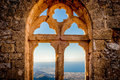 Saint hilarion castle queen s window kyrenia district cyprus view of the elanor in the upper ward Stock Photos